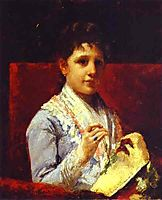 Mary Ellison Embroidering, 1877, cassatt