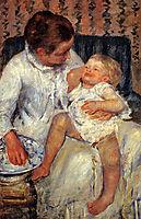 Mother About To Wash Her Sleepy Child, 1880, cassatt