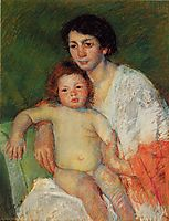 Nude Baby on Mother-s Lap Resting Her Arm on the Back of the Chair, 1913, cassatt