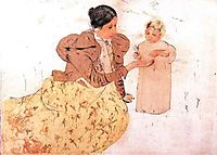 Picking Daisies in a Field, 1890, cassatt