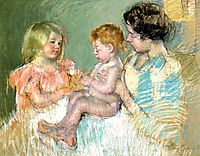 Sara and Her Mother with the Baby, 1901, cassatt