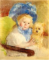 Simone in a Large Plumed Hat, Seated, Holding a Griffon Dog, c.1903, cassatt