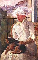 Susan on a balcony holding a dog, c.1883, cassatt
