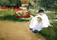 Woman and Child Seated in a Garden, c.1881, cassatt
