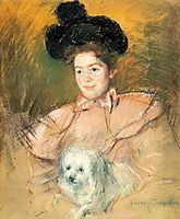 Woman in Raspberry Costume Holding a Dog, 1900, cassatt