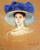 Woman`s Head with Large Hat, c.1909, cassatt