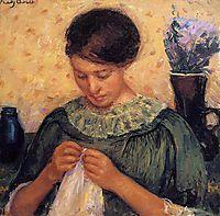 Woman Sewing, 1914, cassatt