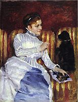 Woman on a Striped with a Dog (also known as Young Woman on a Striped Sofa with Her Dog), c.1875, cassatt