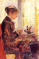 Woman by a Window Feeding Her Dog, c.1880, cassatt