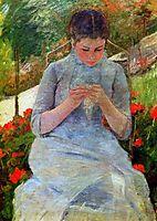 Woman with needlework Sun, cassatt