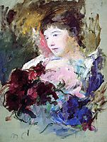 Young Girl Holding a Loose Bouquet, c.1880, cassatt