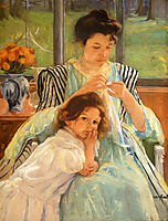 Young Mother Sewing, 1900, cassatt