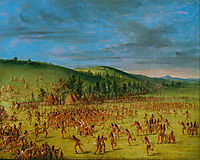 Ball-play of the Choctaw--Ball Up, 1850, catlin