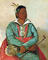 Mó-sho-la-túb-bee, He Who Puts Out and Kills, Chief of the Tribe, 1834, catlin