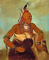 Osage warrior of the Wha-sha-she band (a subdivision of Hunkah), 1834, catlin