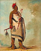Shonka Sabe (Black Dog). Chief of the Hunkah division of the Osage tribe, 1834, catlin