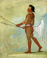 Tul-lock-chísh-ko, Drinks the Juice of the Stone, in Ball-player-s Dress (Choctaw), 1834, catlin