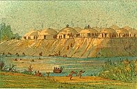 A village of the Hidatsa tribe at Knife River, 1832, catlin
