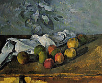 Apples and a Napkin , 1880, cezanne