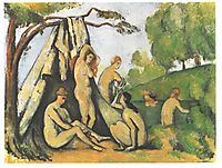 Bathers in front of a tend, cezanne