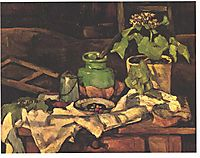 Flower pot at a table, cezanne