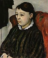 Madame Cezanne in a Striped Rob, c.1884, cezanne