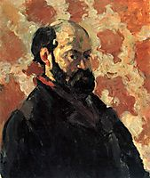 Self-portrait in front of pink background, 1875, cezanne