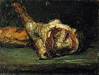 Still Life Bread and Leg of Lamb, 1866, cezanne