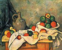 Still Life, Drapery, pitcher, fruit bowl, 1893-1894, cezanne