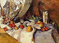 Still Life Post, Bottle, Cup and Fruit, c.1871, cezanne