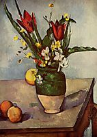Still Life, Tulips and apples, 1894, cezanne