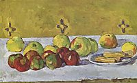 Still life with apples and biscuits, 1877, cezanne