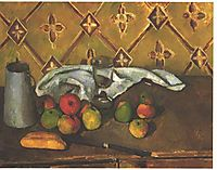 Still life with apples, servettes and a milkcan, 1880, cezanne