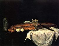 Still Life with Bread and Eggs, 1865, cezanne