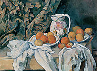 Still Life with Curtain and Flowered Pitcher, 1895, cezanne