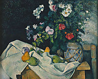 Still Life with Flowers and Fruit, 1890, cezanne