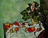 Still life with fruit geraniums Stock, 1894, cezanne