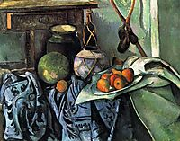 Still Life with a Ginger Jar and Eggplants, 1894, cezanne