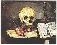 Still life with skull, candle and book, 1866, cezanne