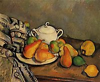 Sugarbowl, Pears and Tablecloth, c.1894, cezanne