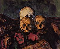 Three Skulls on a Patterned Carpet, c.1900, cezanne