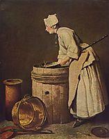 Frau, Geschirr scheuernd, c.1736, chardin