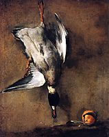 A Green Neck Duck with a Seville Orange , chardin