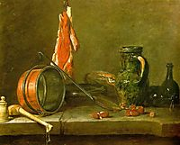 A Lean Diet with Cooking Utensils, 1731, chardin