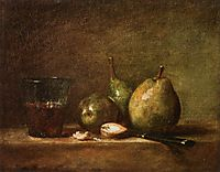 Pears, Walnuts and Glass of Wine, c.1768, chardin