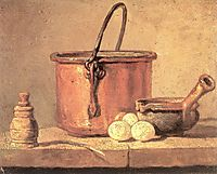 Still Life of Cooking Utensils, Cauldron, Casserole and Eggs, c.1734, chardin