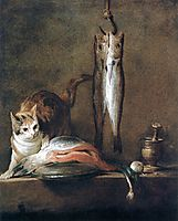 Still Life with Cat and Fish, 1728, chardin