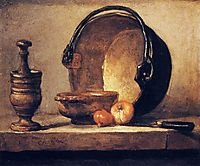 Still Life with Pestle, Bowl, Copper Cauldron, Onions and a Knife, chardin