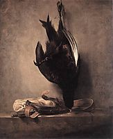 Still Life with Dead Pheasant and Hunting Bag, 1760, chardin