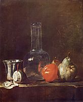 Still Life with Glass Flask and Fruit, c.1750, chardin